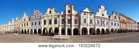 Panoramic view of Telc or Teltsch town square with renaissance and baroque colorful houses UNESCO town in Czech Republic