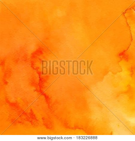 Orange abstract hand drawn watercolor background. Aquarelle backdrop. Vector illustration