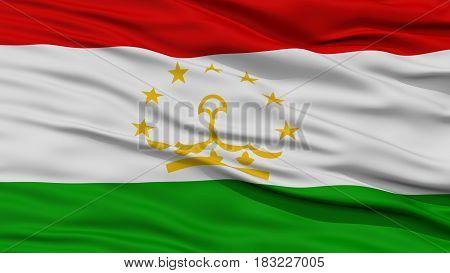 Closeup Tajikistan Flag, Waving in the Wind, High Resolution