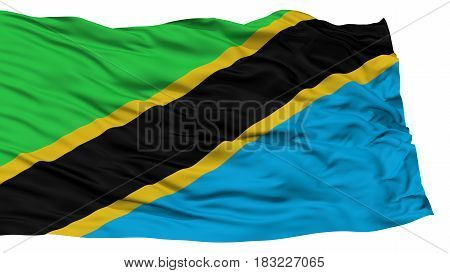 Isolated Tanzania Flag, Waving on White Background, High Resolution