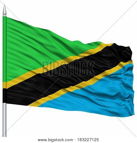 Tanzania Flag on Flagpole , Flying in the Wind, Isolated on White Background