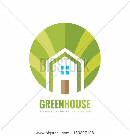 Green house building - vector logo concept illustration in flat style for presentation, booklet, website and other creative projects. Real estate. Design element.
