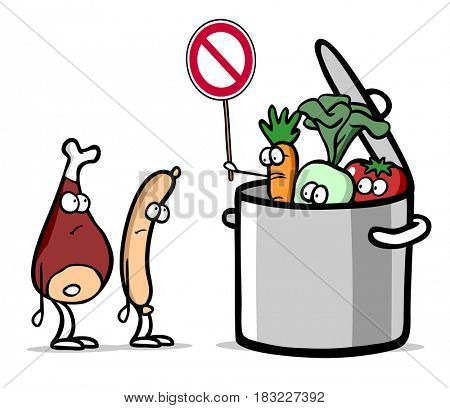 Cartoon of vegetarian vegetables in pot as no meat concept