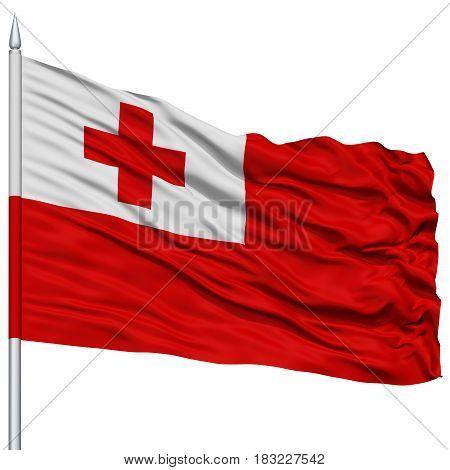 Tonga Flag on Flagpole , Flying in the Wind, Isolated on White Background