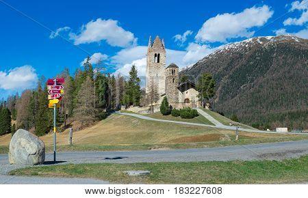 Church Of San Gian In Celerina Near Sankt Moritz In Switzerland