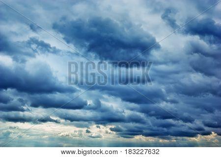 dark storm clouds. overcast sky. Gloomy sky
