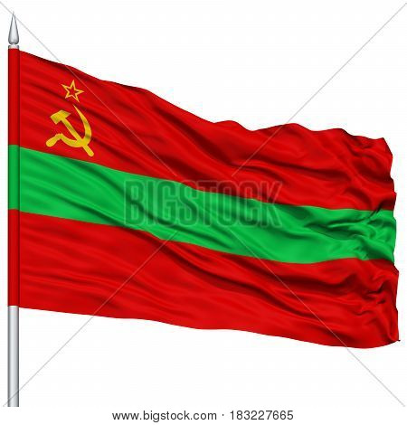 Transnistria Flag on Flagpole , Flying in the Wind, Isolated on White Background