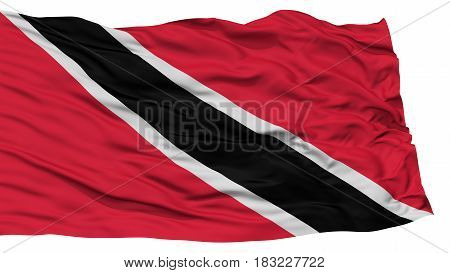 Isolated Trinidad and Tobago Flag, Waving on White Background, High Resolution