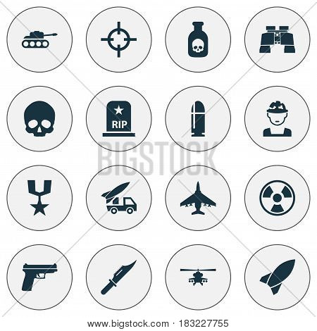 Battle Icons Set. Collection Of Missile, Military, Danger And Other Elements. Also Includes Symbols Such As Shot, Rocket, Cutter.