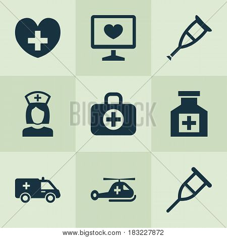 Medicine Icons Set. Collection Of Spike, Diagnosis, Surgical Bag And Other Elements. Also Includes Symbols Such As Care, First-Aid, Crutch.