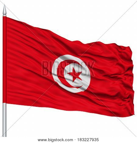 Tunisia Flag on Flagpole , Flying in the Wind, Isolated on White Background