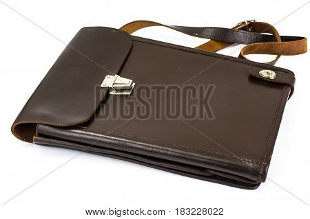 Isolated Bag tablet leather military. Studio Photo