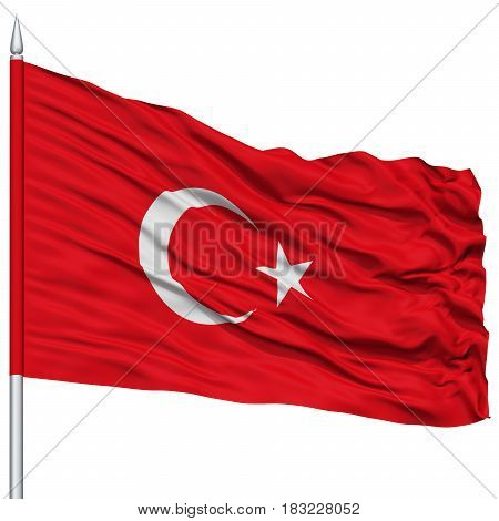 Turkey Flag on Flagpole , Flying in the Wind, Isolated on White Background