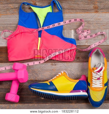 Sport Equipment, Sports Bra And Sneakers