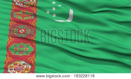 Closeup Turkmenistan Flag, Waving in the Wind, High Resolution