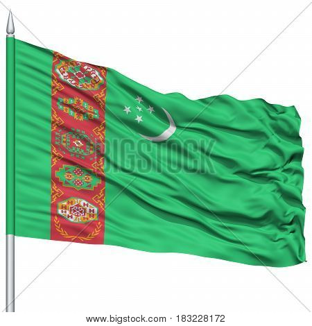 Turkmenistan Flag on Flagpole , Flying in the Wind, Isolated on White Background