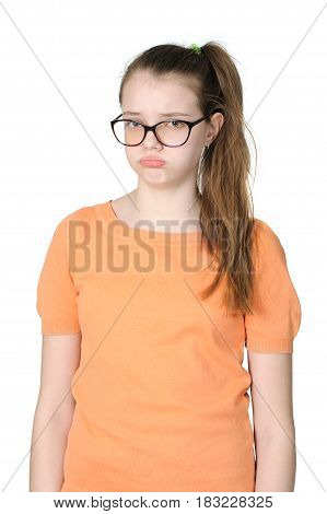 Offended Teenage Girl On A Clean White Background..