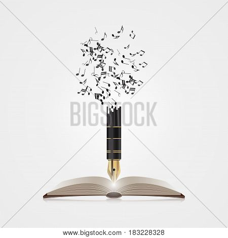 Creative colorful music pen. Writing concept. Vector illustration