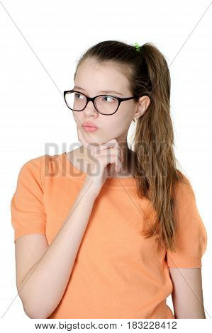 Portrait Of Charming Pensive Teenage Girl On White Background..