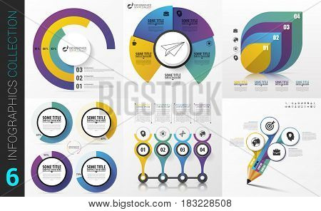 Big collection of colorful infographics. Modern design. Vector illustration