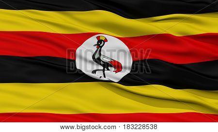 Closeup Uganda Flag, Waving in the Wind, High Resolution