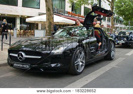 "BERLIN - MAY 28: Supercar Mercedes-Benz SLS AMG the exhibition ""125 car history - 125 years of history Kurfurstendamm"" May 28 2011 in Berlin Germany"