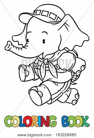 Scout. Funny running baby elephant with backpack. Children vector illustration. Coloring book