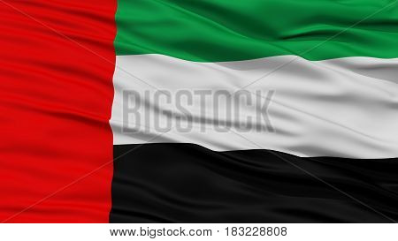 Closeup United Arab Emirates Flag, Waving in the Wind, High Resolution