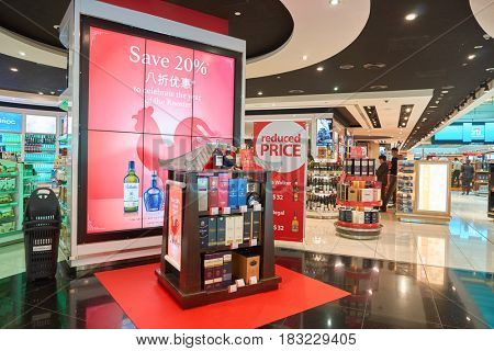 DUBAI, UAE - CIRCA JANUARY, 2017: alcohol products on display in duty-free area of Dubai International Airport. The airport is home to the long-haul carrier Emirates.