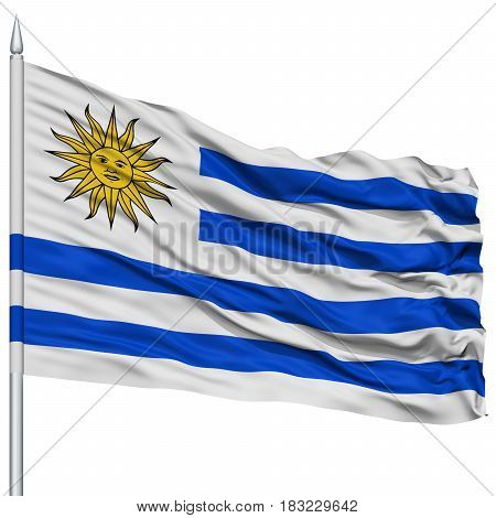 Uruguay Flag on Flagpole , Flying in the Wind, Isolated on White Background