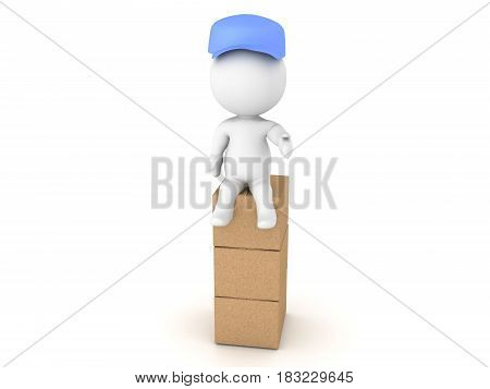 3D Illustration of a delivery man sitting on top of stack of boxes. The deliverman is wearing a blue hat.