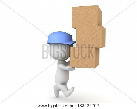 3D illustration of delivery man running and carrying many packages. Image can be used to depict express delivery.