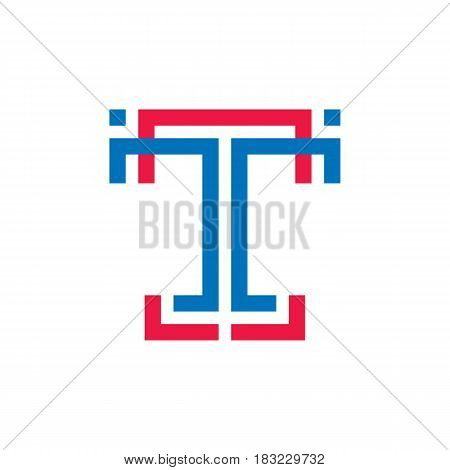 T letter - vector business logo template concept illustration for corporate identity. Abstract geometric creative sign for mobile application. Graphic design element.