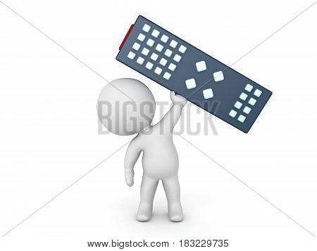 3D Character holding a giant television remote control. It's big.