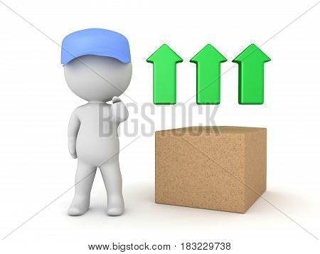 3D Illustration conveying the concept of express fast shipping. A delivery man is giving thumbs up next to three green arrows.
