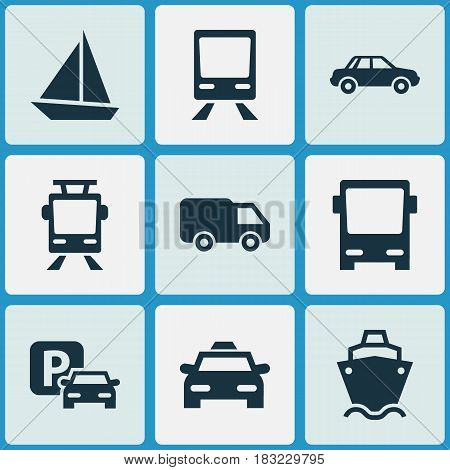 Transport Icons Set. Collection Of Streetcar, Cab, Yacht And Other Elements. Also Includes Symbols Such As Parking, Trolley, Yacht.