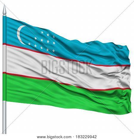 Uzbekistan Flag on Flagpole , Flying in the Wind, Isolated on White Background
