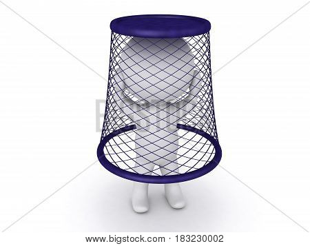 3D Character stuck in waste basket. It's on top of him.