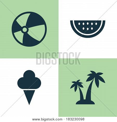 Season Icons Set. Collection Of Trees, Melon, Sweets And Other Elements. Also Includes Symbols Such As Watermelon, Palms, Trees.