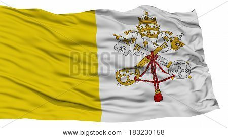 Isolated Vatican Flag, Waving on White Background, High Resolution