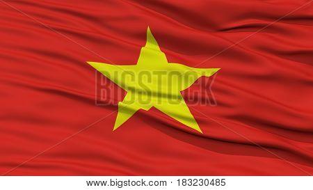 Closeup Vietnam Flag, Waving in the Wind, High Resolution