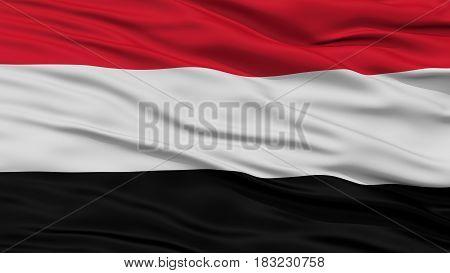 Closeup Yemen Flag, Waving in the Wind, High Resolution