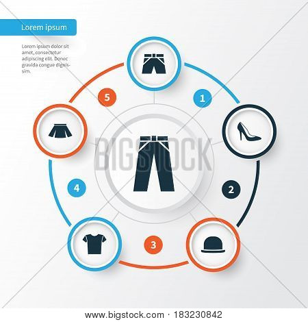 Dress Icons Set. Collection Of Trunks Cloth, Heel Footwear, Casual And Other Elements. Also Includes Symbols Such As Fedora, Pants, Shorts.