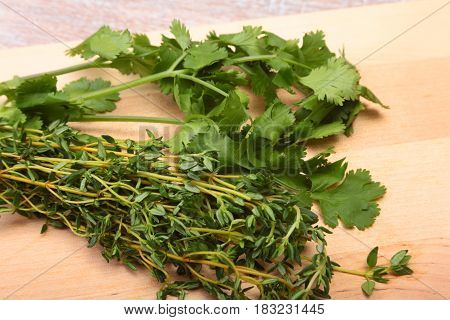 Fresh green cilantro, coriander leaves and rosemary on wooden table.