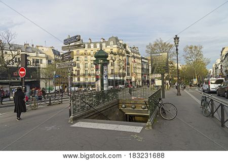 PARIS FRANCE - MARCH 31 2017: Metro station in Pigal Square. Morning. Paris France.
