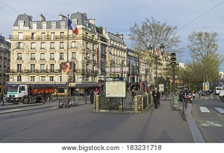 PARIS FRANCE - MARCH 31 2017: Place Pigalle in the morning. Paris France.
