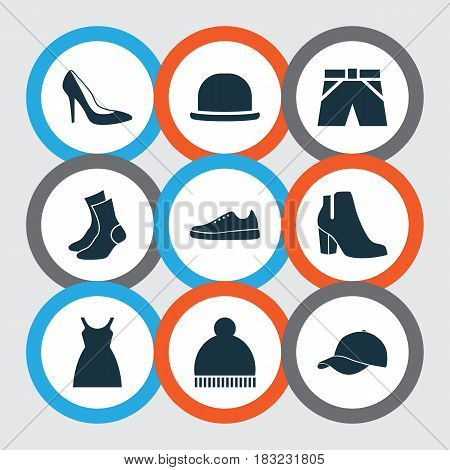 Garment Icons Set. Collection Of Trunks Cloth, Dress, Sneakers And Other Elements. Also Includes Symbols Such As Trilby, Socks, Ski.