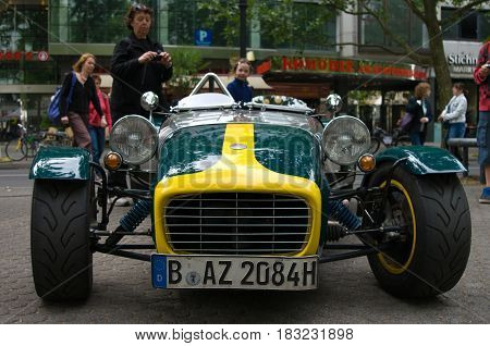 """BERLIN - MAY 28: The Lotus Seven 7F 1959 the exhibition """"125 car history - 125 years of history Kurfurstendamm"""" May 28 2011 in Berlin Germany"""