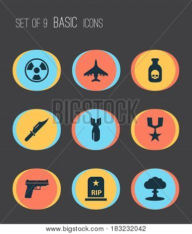 Warfare Icons Set. Collection Of Weapons, Rip, Danger And Other Elements. Also Includes Symbols Such As Knife, Cutter, Atom.