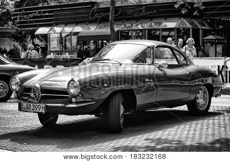 BERLIN - MAY 28: Car Alfa-Romeo Giulietta SS (Black and White) the exhibition